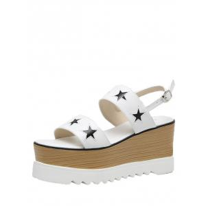 Star Pattern Platform Sandals - WHITE 38