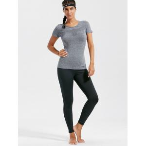 Marled Breathable Ripped Workout T-shirt - GRAY S