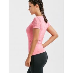 Marled Breathable Ripped Workout T-shirt - DEEP PINK L