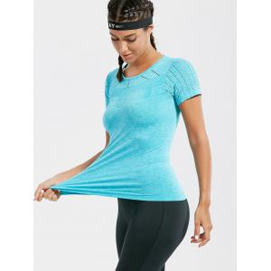 Marled Breathable Ripped Workout T-shirt - LAKE BLUE L