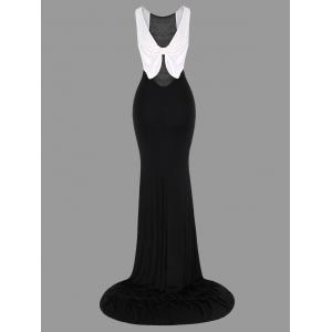 Bowknot Bodycon Open Back Dovetail Dress - WHITE AND BLACK L