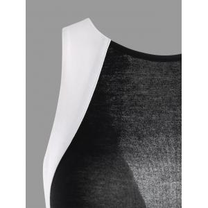 Open Back Dovetail Carpet Cut Out Dress - WHITE AND BLACK 2XL