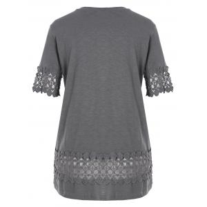 Plus Size Lace Crochet Panel Basic T-shirt -