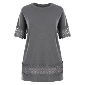 Plus Size Lace Crochet Panel Basic T-shirt - Gray - 5xl