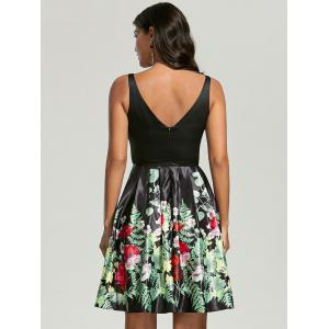 Sleeveless Floral Fit and Flare Dress - BLACK M
