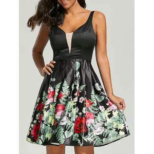 Sleeveless Floral Fit and Flare Dress - Black - 2xl