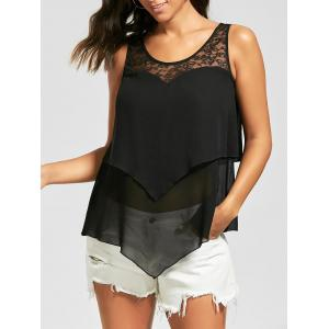 Sheer Lace Trim Overlay Sleeveless Blouse