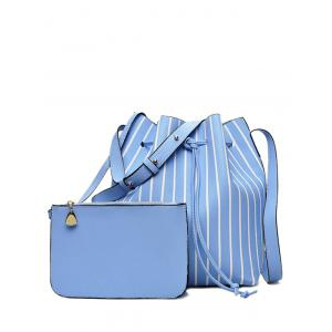 Pouch Bag and Stripe Bucket Bag - Blue - 39