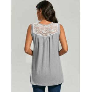 Sleeveless Sheer Lace Yoke Tunic Top -
