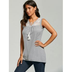 Sleeveless Sheer Lace Yoke Tunic Top - GRAY L