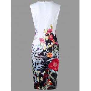 Flower Print Sleeveless Pencil Sheath Dress - WHITE M