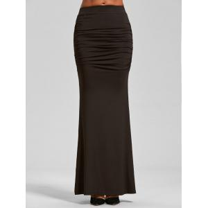 High Waist Ruched Maxi Trumpet Skirt - Dark Coffee - Xl