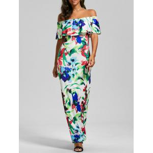 Flounce Off The Shoulder Floral Maxi Dress - Colormix - 2xl