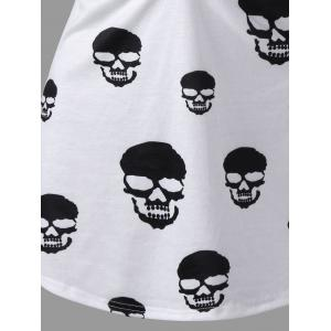 Skull Print Ruched Plus Size Tank Top -