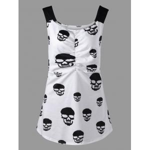 Skull Print Ruched Plus Size Tank Top