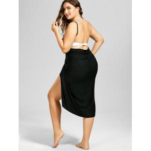 Beach Cover-up Plus Size Wrap Dress - BLACK 2XL