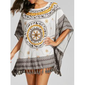 Fringed Tribal Batwing Sleeve Blouse - White - One Size