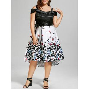 Plus Size Cold Shoulder Butterfly Print Vintage Dress - Black - Xl