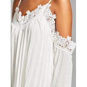 Chiffon Lace Panel Pleated Flowy Mini Slip Dress - WHITE M