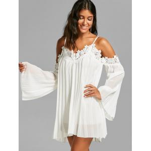 Chiffon Lace Panel Pleated Flowy Mini Slip Dress - WHITE L