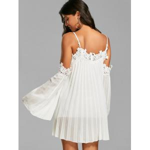 Chiffon Lace Panel Pleated Flowy Slip Shift Dress -