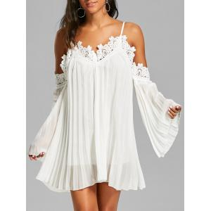 Chiffon Lace Panel Pleated Flowy Mini Slip Dress