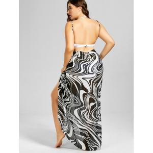 Plus Size Graphic Cover-up Maxi Wrap Dress - WHITE AND BLACK 2XL