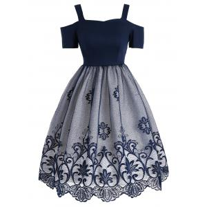 Lace Panel Vintage Fit and Flare Dress - Blue - Xl