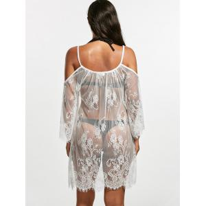 Cold Shoulder Sheer Lace Cover Up Dress - WHITE S