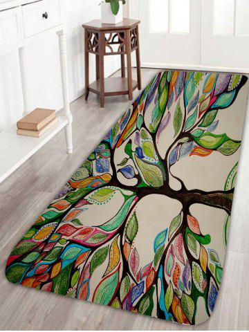 Online Colorful Tree Print Coral Fleece Skidproof Bath Rug - W16 INCH * L47 INCH COLORFUL Mobile