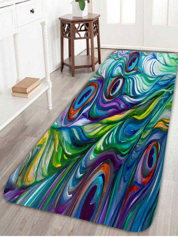 Store Skidproof Coral Fleece Peacock Feather Bath Rug - W16 INCH * L47 INCH COLORFUL Mobile