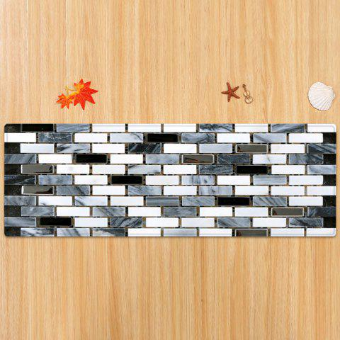 Affordable Ceramic Tile Pattern Anti-skid Water Absorption Area Rug - W24 INCH * L71 INCH BLACK WHITE Mobile