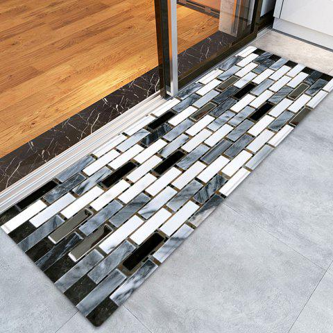 Discount Ceramic Tile Pattern Anti-skid Water Absorption Area Rug - W24 INCH * L71 INCH BLACK WHITE Mobile