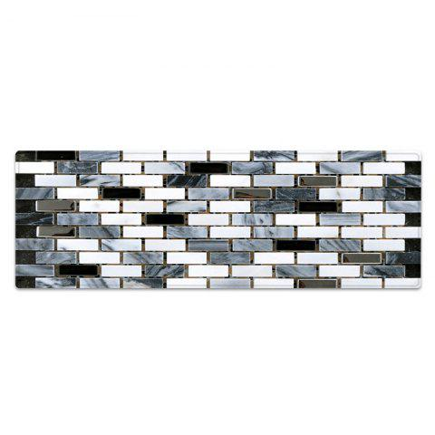 Fancy Ceramic Tile Pattern Anti-skid Water Absorption Area Rug - W24 INCH * L71 INCH BLACK WHITE Mobile