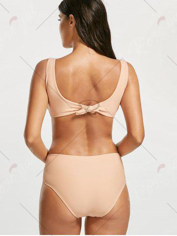 Outfits One Piece Padded Open Back Swimsuit - L LIGHT BEIGE Mobile
