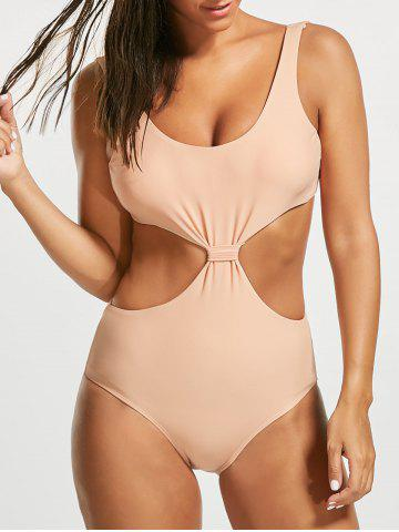 Buy One Piece Padded Open Back Swimsuit - L LIGHT BEIGE Mobile