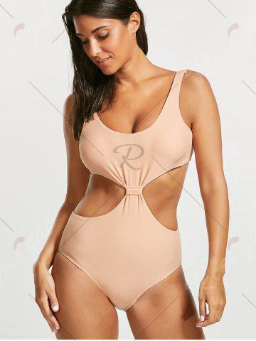 Fashion One Piece Padded Open Back Swimsuit - L LIGHT BEIGE Mobile