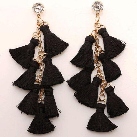 Rhinestone Statement Tassel Chain Earrings - Black - S