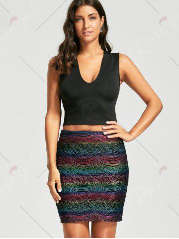 Shop Graphic Lace Tight Skirt - M COLORMIX Mobile