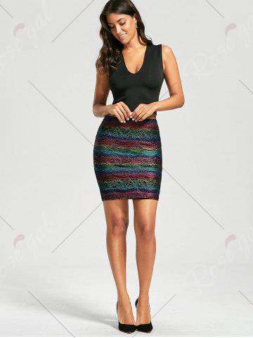 Latest Graphic Lace Tight Skirt - XL COLORMIX Mobile