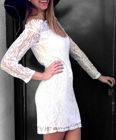 Fashion Off Shoulder Mini Lace Fitted Party Dress WHITE S