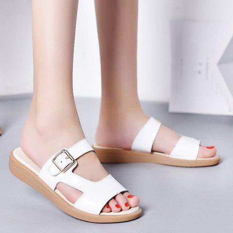 Flat Heel Belt Buckle Slippers - White - 38