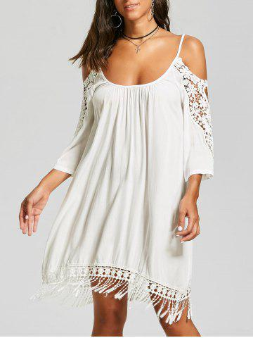 Latest Lace Trim Fringe Cold Shoulder Mini Dress WHITE 2XL