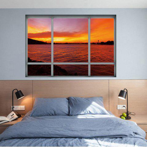 Affordable Removable 3D Window Sea Sunset Wall Art Sticker - 48.5*68CM DARK AUBURN Mobile