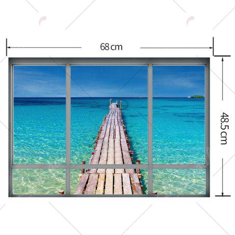 Store Beach View Window Wall Sticker For Living Room - 48.5*68CM BLUE Mobile
