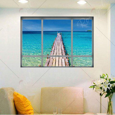 Sale Beach View Window Wall Sticker For Living Room - 48.5*68CM BLUE Mobile