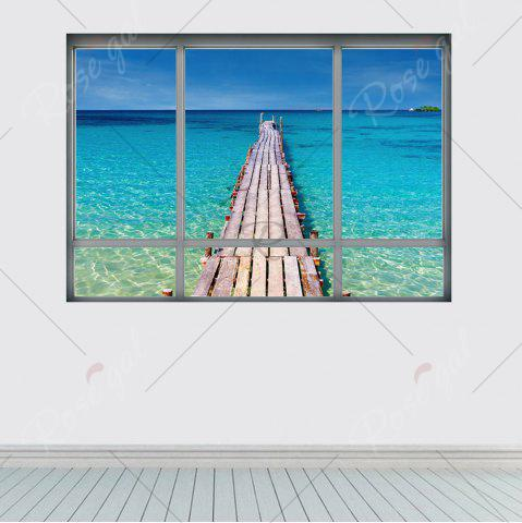 Shops Beach View Window Wall Sticker For Living Room - 48.5*68CM BLUE Mobile