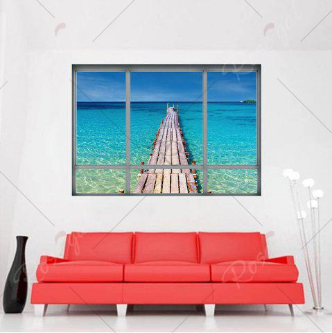 Chic Beach View Window Wall Sticker For Living Room - 48.5*68CM BLUE Mobile