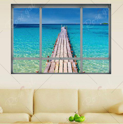 Best Beach View Window Wall Sticker For Living Room - 48.5*68CM BLUE Mobile