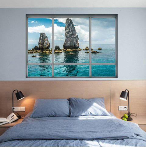 Shops 3D Window Scenery Home Decoration Wall Sticker LAKE BLUE 48.5*68CM